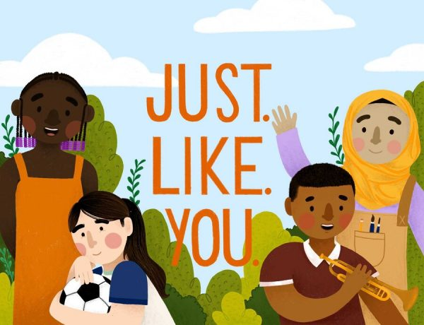 Book cover of Just. Like. You. by Meredith Steiner and Avneet Sandhu. Cover image is 4 kids smiling.